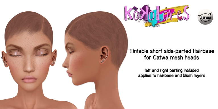 [KoKoLoReS] Tintable short side-parted Hairbase Catwa