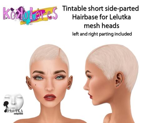 [KoKoLoReS] Tintable short side-parted Hairbase Lelutka